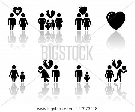 family concept icons with mirror reflection silhouette