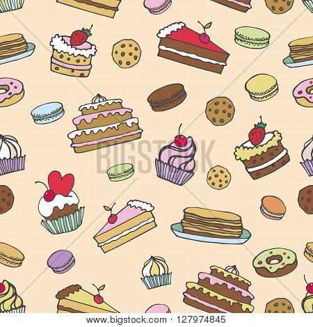 Doodle vector.Bakery, Cakes and dessert, pastries seamless pattern.Colored vintage icons, sweet elements background formenu, cafe shop. Flat hand drawn vintage collection.Backdrop, fabric, wallpaper