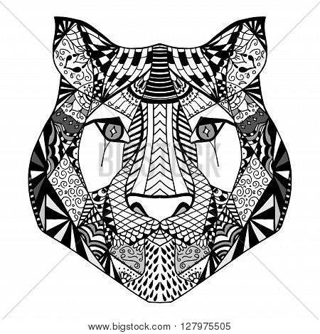 Tiger head. Adult antistress coloring page. Black white hand drawn doodle animal. Ethnic patterned vector. African indian totem tribal zentangle design. Sketch for tattoo poster print t-shirt