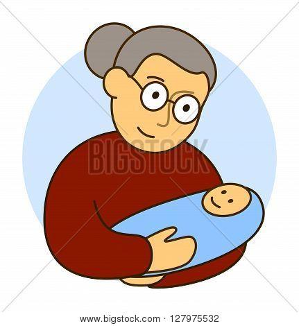 grandmother with her little grandson  newborn child boy