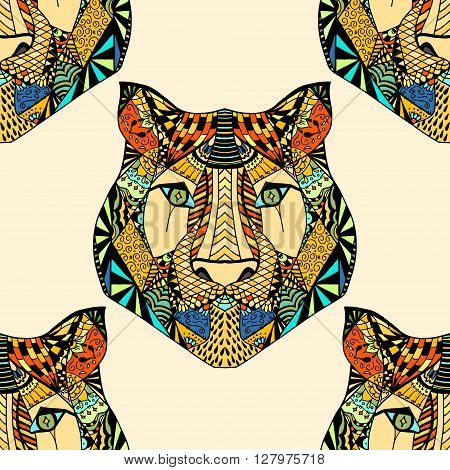 Colored Seamless Tiger pattern. Vector illustration image