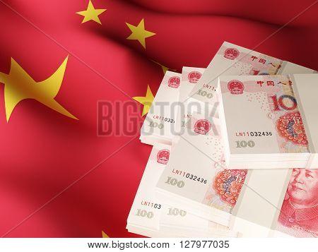 Chinese yuan renminbi banknotes on textile textured China flag. 3d rendering.