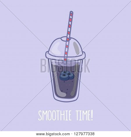 Hand drawn smoothie to go cup with blueberry illustration and smoothie time lettering
