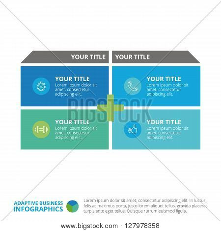 Matrix diagram template with icons, titles and sample text, multicolored version