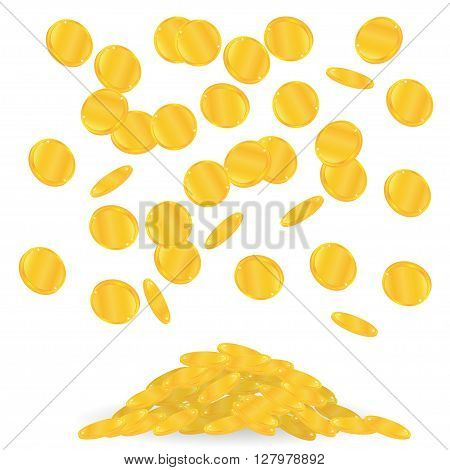 gold coins fall. Many of falling coins