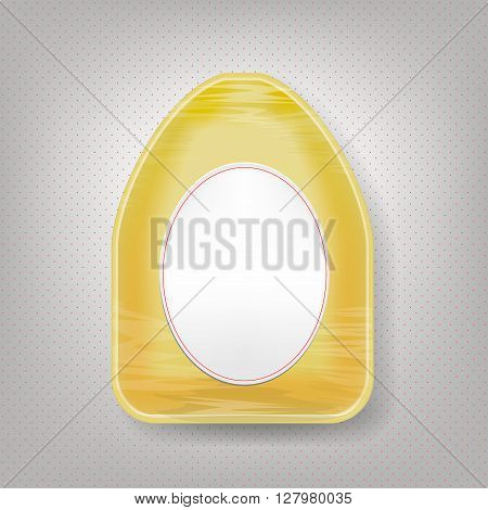 Empty yellow polystyrene food tray isolated on white.  Plastic Food Container for Chicken