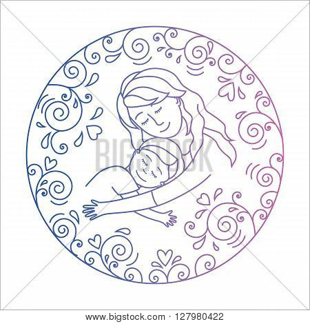 Colored motherly love concept isolated on a white background. Mother and son in love inside round.Mother and son hug. Motjher and baby.Vector illustration