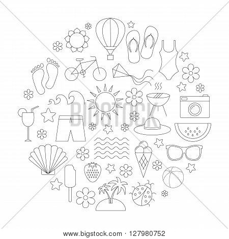 Summer time linear icons set. Travel vacation beach hiking. Design for web postcard poster. Black thin line icons. Isolated on white background.Vector illusrtation
