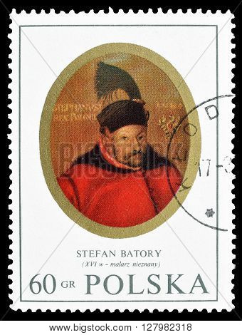 POLAND -CIRCA 1970 : Cancelled postage stamp printed by Poland, that shows king Stefan Batory.