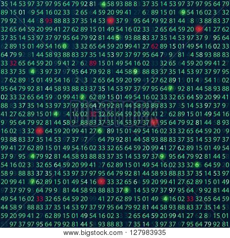 Template coding and programming theme. Green - cyan numbers rows. Vector tiled seamless loopable eps abstract illustration. Error red numbers in row