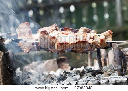 Hot shish kebab on metal skewers prepares on the coals outdoors. Shashlik is a form of Shish kebab popular in Eastern, Central Europe and other places.
