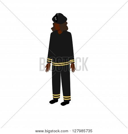African-American woman firefighter in uniform standing full face. Stock Isometric-style games, infographics, reports, websites and icons