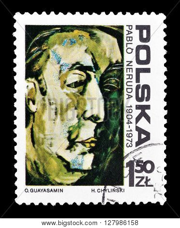 POLAND - CIRCA 1974 : Cancelled postage stamp printed by Poland, that shows painting of Pablo Neruda.