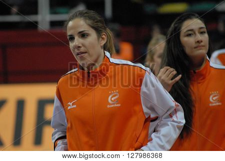 ANKARA/TURKEY-April 30, 2016: Eczacibasi Vitra Volleyball Team's players at the Baskent Volleyball Hall during the Volleyball Women 1st Laegue of Turkey Final Four matches. April 30, 2016-Ankara/Turkey