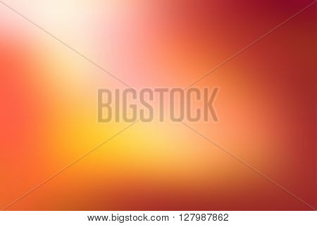Orange blurred background. Colorful defocused lights. Soft colored gradient backdrop. Abstract blurry sunset. Vector illustration