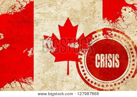 Crisis stamp background with flag