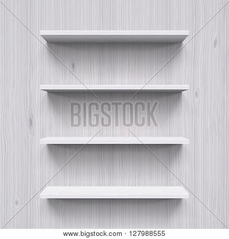 Four horizontal wooden bookshelves. Illustration for design