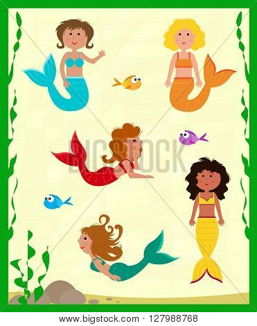 Cute set of five colorful mermaids and fish. Eps10