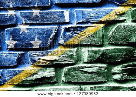 Brick wall Solomon islands flag with some cracks and vintage loo