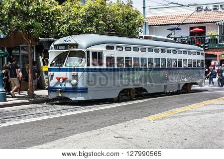 San Francisco,California,USA - June 27, 2015 : The gray streetcar in Jones Street