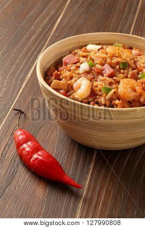 Creole Jambalaya - Rice Cooked With Shrimp, Smoked Sausage And Tomatoes.