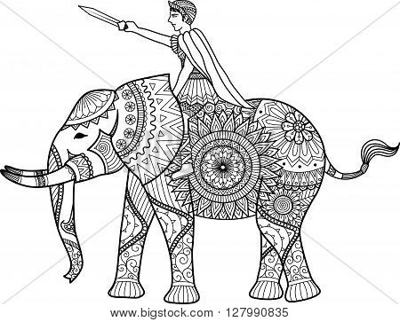 Zentangle sylized of warrior riding elephant coloring book for adult, cards, T- Shirt graphic, tattoo and other decorations