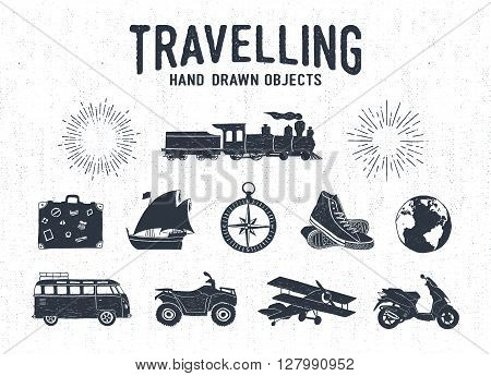 Hand drawn textured vintage travel icons set with steam train suitcase yacht sneakers bus quad bike plane Earth and starburst vector illustrations.
