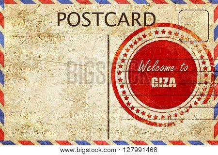 Vintage postcard Welcome to giza