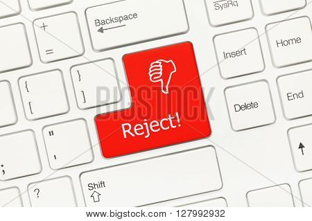White Conceptual Keyboard - Reject (red Key With Thumb Down Symbol)