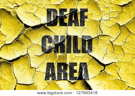 Grunge cracked Deaf child sign