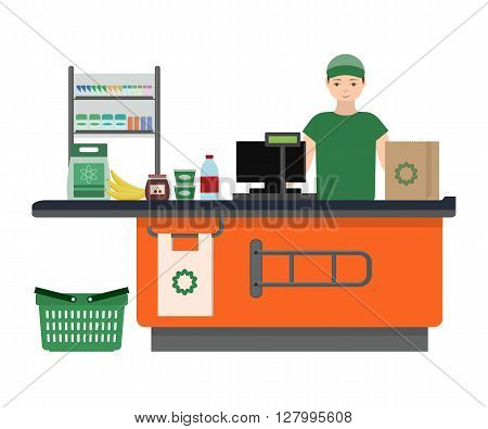 Supermarket store counter desk equipment and clerk in uniform ringing up grocery purchases. Flat style vector illustration isolated on white background