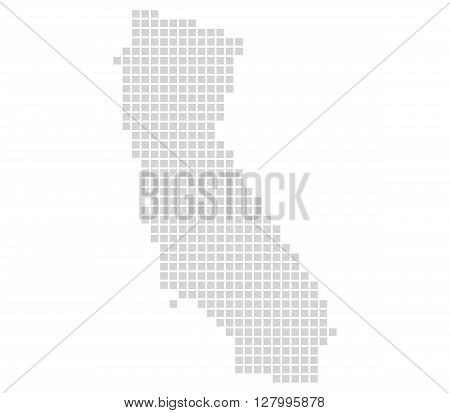 Isolated Map with grey pixels is showing Outline of California