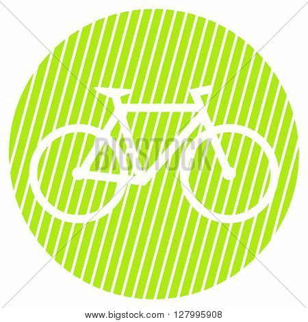 Striped round Button with white symbol is showing Bike
