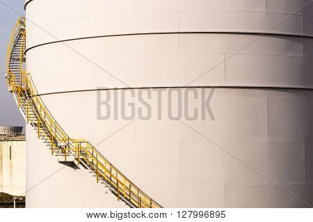 A staircase running up a storage silo