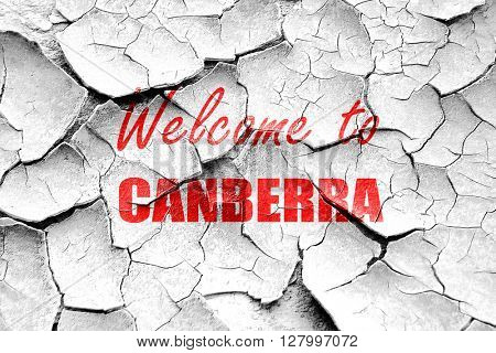 Grunge cracked Welcome to canberra