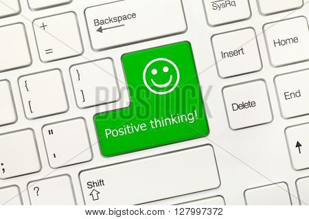 White Conceptual Keyboard - Positive Thinking (green Key With Smiley Symbol)