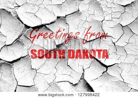 Grunge cracked Greetings from south dakota