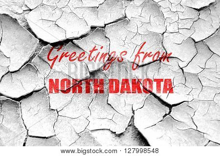 Grunge cracked Greetings from north dakota