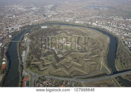 Aerial View From A Helicopter, Of An Vauban Style Old Fortress
