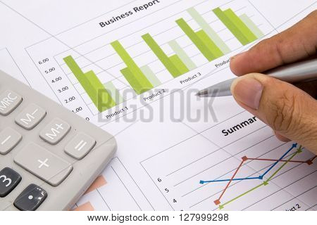 Man Analysis Business and financial report. accountant, accounting