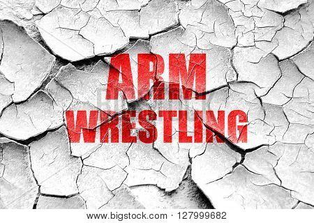 Grunge cracked arm wrestling sign background