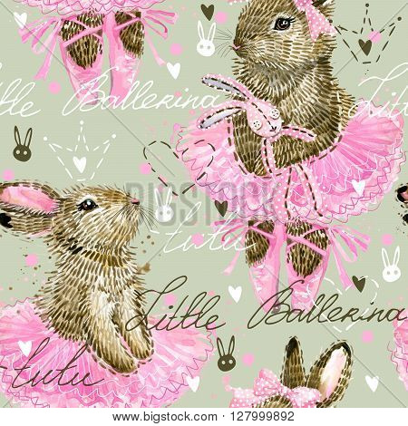 Cute Bunny. Cute Bunny seamless pattern. Seamless pattern for kid. Cute Ballerina.  Watercolor Bunny illustration.