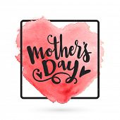 Mothers Day typographical background with creative heart. Elegant greeting card design for Mothers poster