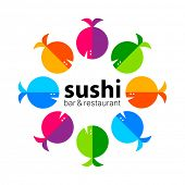 Постер, плакат: Sushi logo Sushi bar restaurant design element Sushi food sashimi japanese food sushi fish su