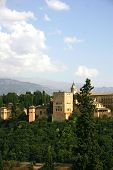 image of zar  - scenic view of the alhambra palace in the late afternoon with the sierra nevada mountains in the background   - JPG