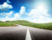 stock photo of road trip  - summer day and road - JPG