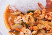 Постер, плакат: Stir Fried Shrimp In Thai Red Curry Paste With Rice And Fried Egg Spicy Fried Shrimp Curry Fried