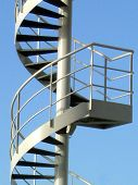 stock photo of spiral staircase  - spiral staircase up in the sky - JPG