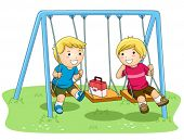 image of playmate  - Children on Swing In the Park  - JPG