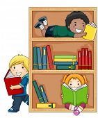 A Small Group of Kids Reading Books - Vector